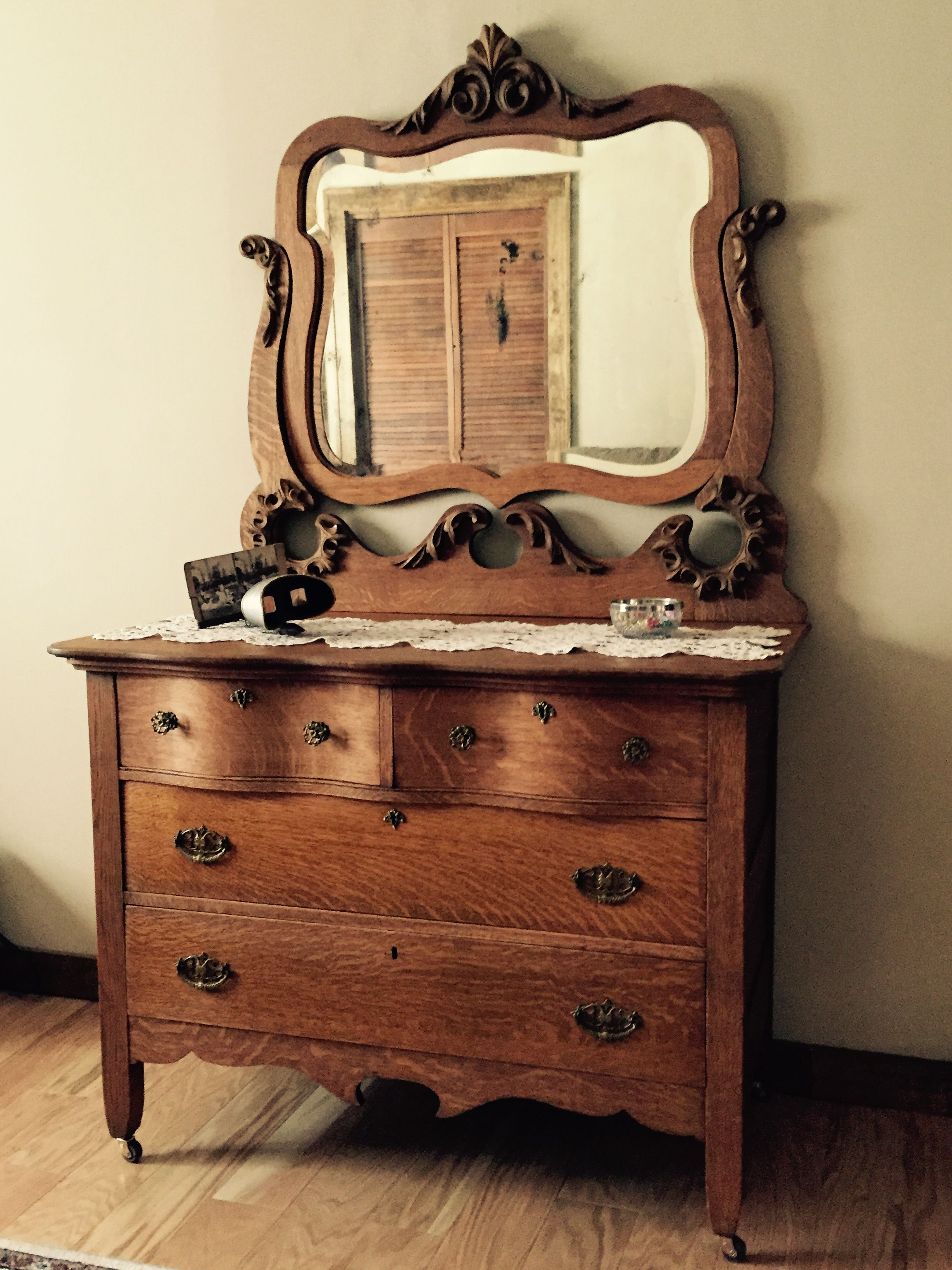 Antique oak dresser with mirror.  Antique bedroom furniture