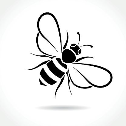 Illustration of bee icon on white background is part of Bee illustration, Bee icon, Bee drawing, Bee silhouette, Bee clipart, Bee images - Illustration of bee icon on white background