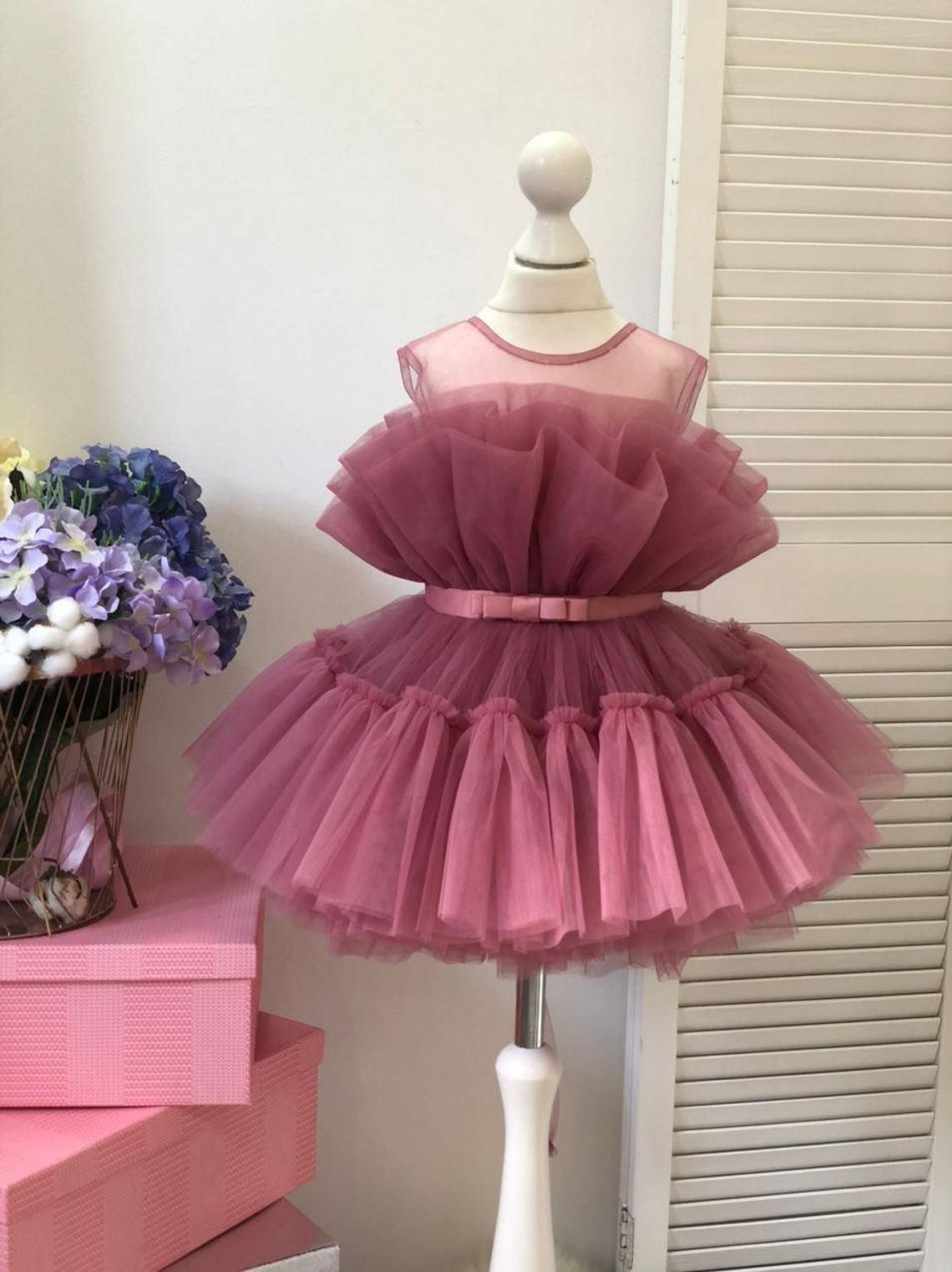 Birthday baby dress in Barbie style, short puffy girl dress, first