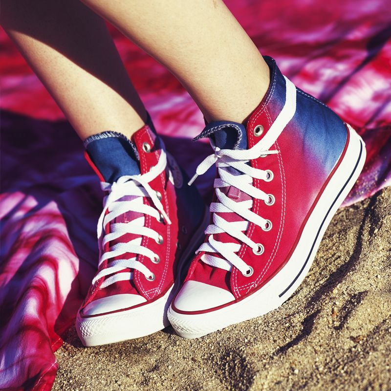 d728d72e9cd5f5 How to make Patriotic Hi-Top Shoes - how to tie dye sneakers - ways to  recycle and renew old shoes - trendy ombre lace ups