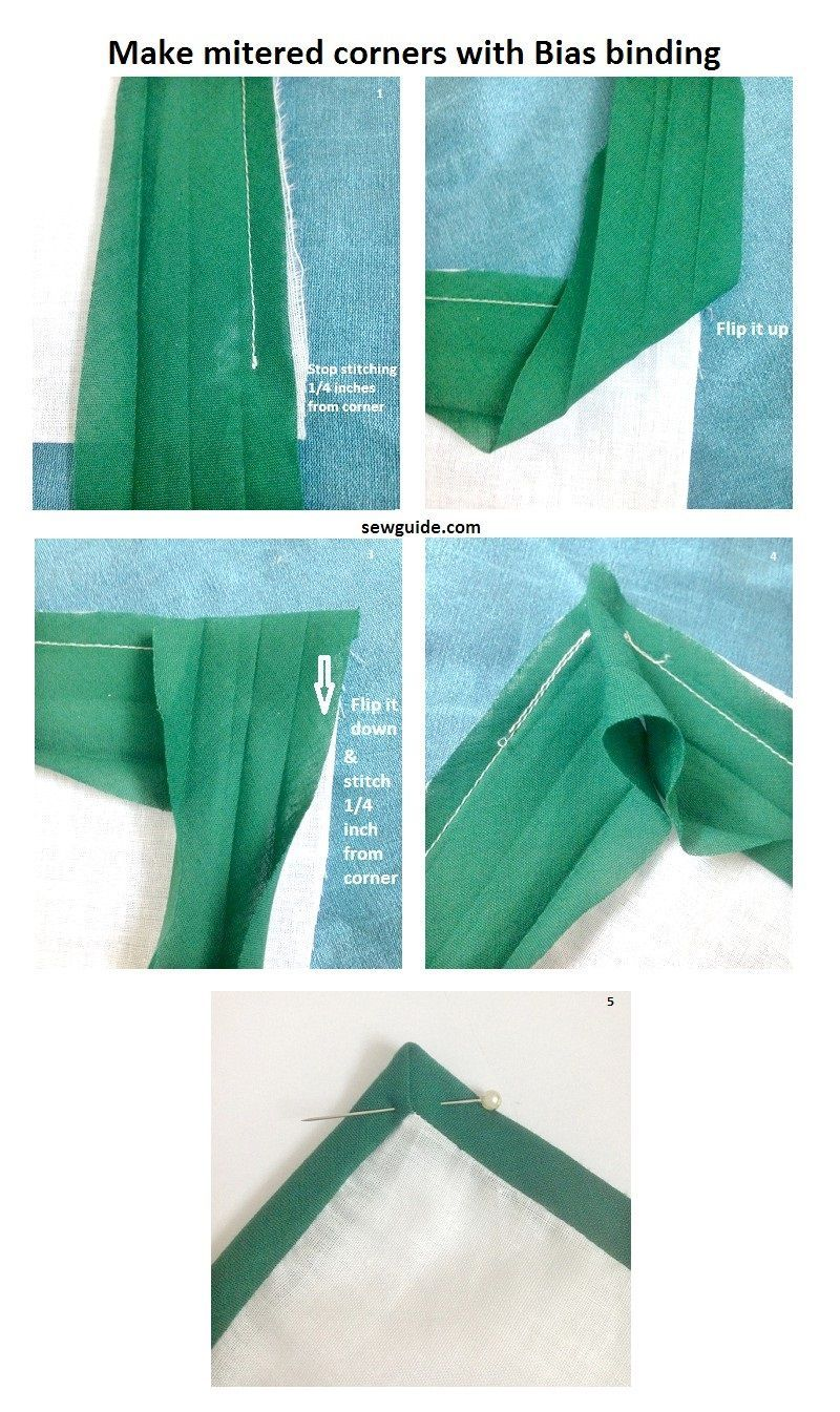 how to make a mitered corner with bias tape