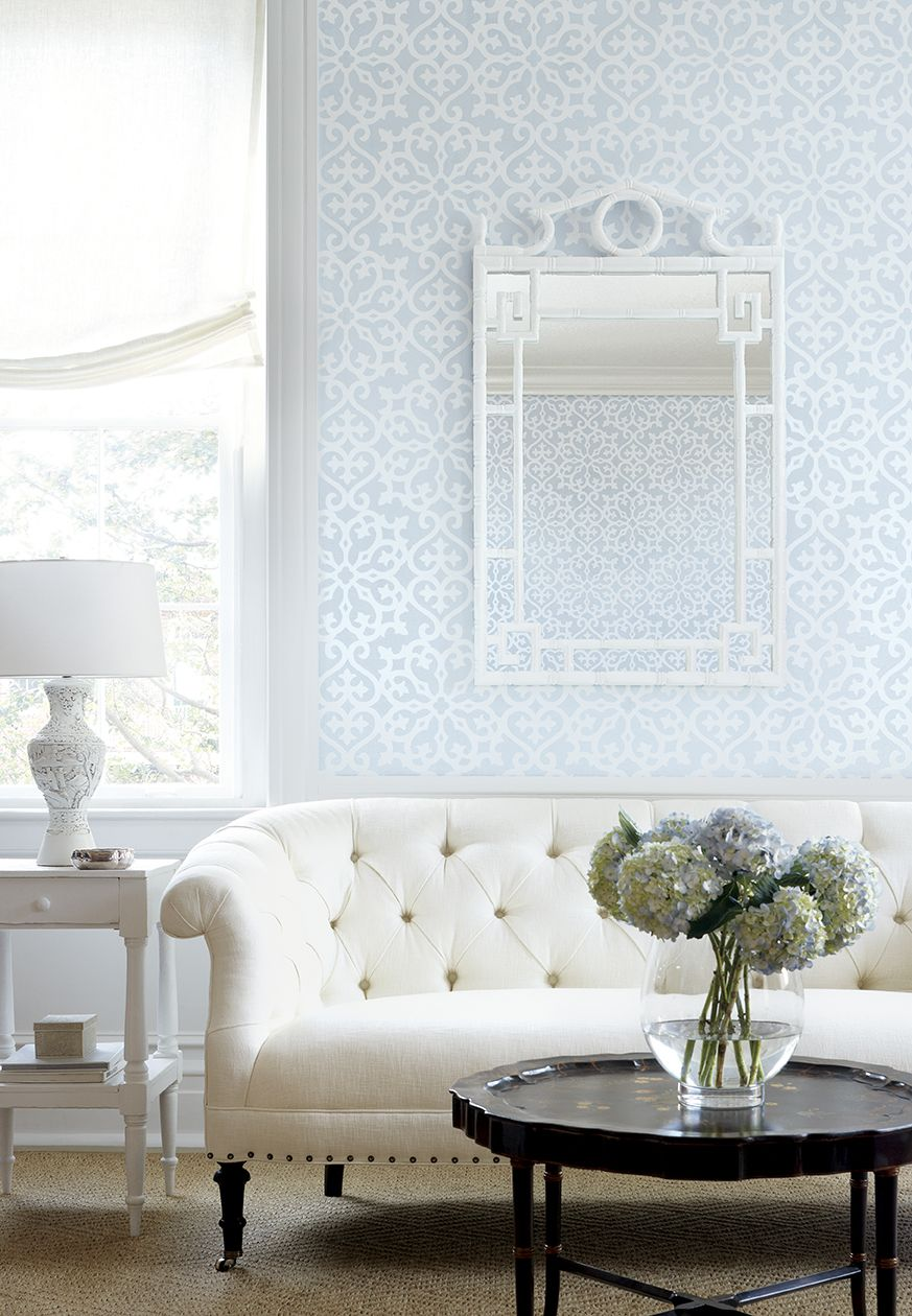 Allison #wallpaper In Light Blue, Kendall Sofa In Cabo Cotton Woven #fabric  In