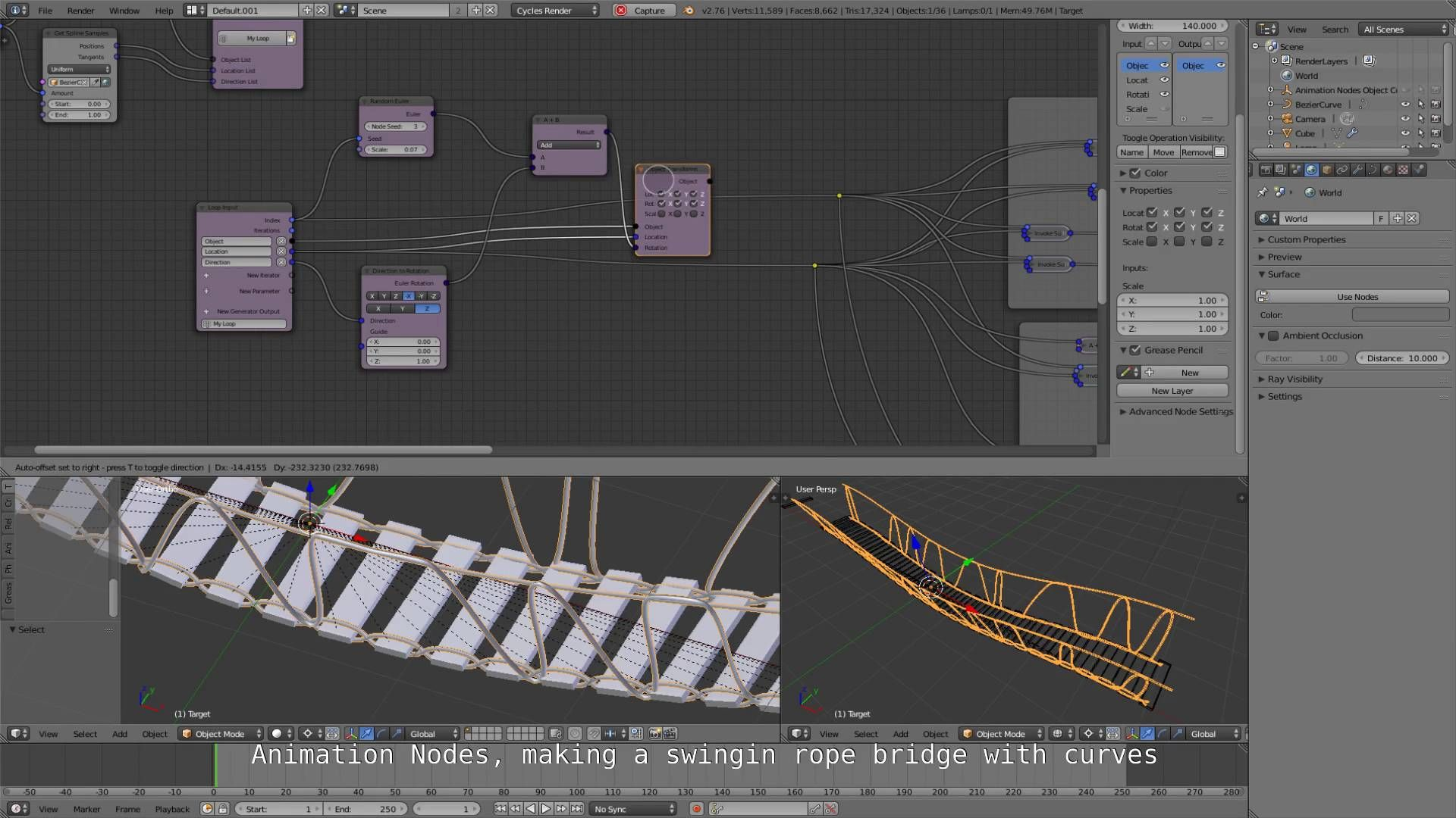 Animation Nodes Curves 3 Swinging Rope Bridge Blender Tutorial 3d Tutorial Blender 3d