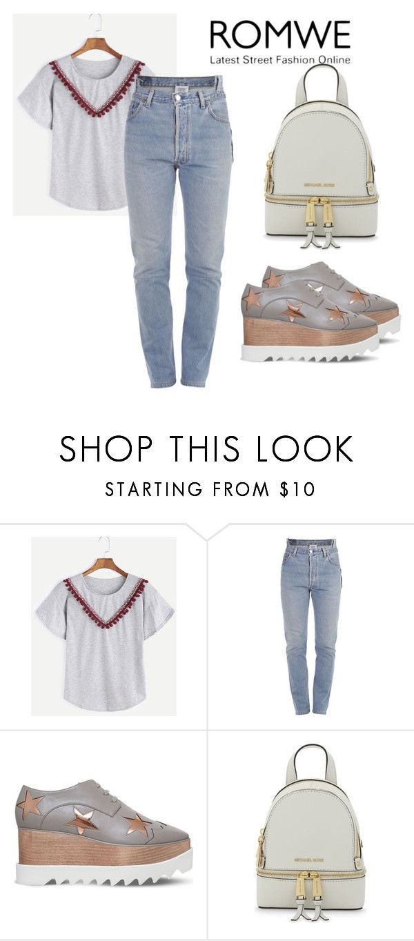 """Grey T-shirt"" by mireille-a ❤ liked on Polyvore featuring Vetements, STELLA McCARTNEY and MICHAEL Michael Kors"