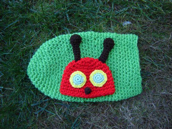 Green Caterpillar Crochet Cocoon and a Beanie Set Photography prop