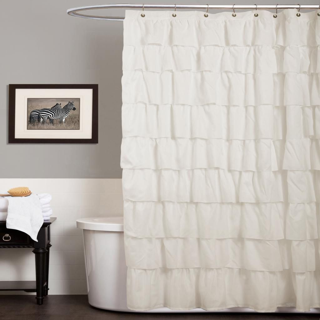 This Ivory Shower Curtain Is Sure To Make Your Bathroom More Beautiful.  Featuring An Overlapping