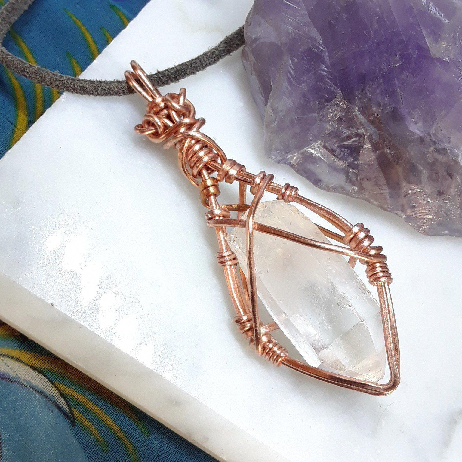 Rose Quartz Libra Wire Wrapped Copper Necklace