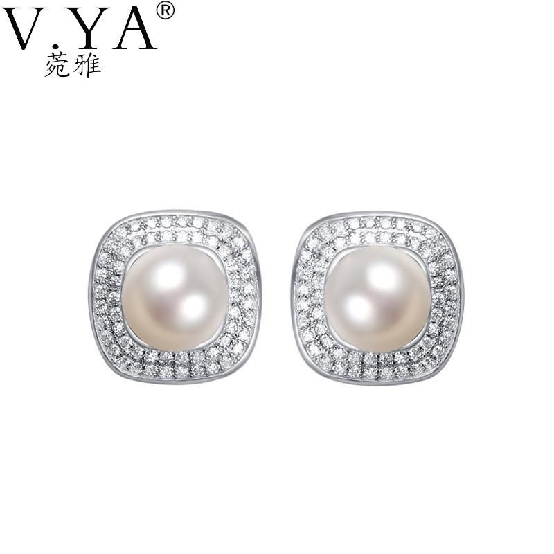 Simulated Pearl Earrings 100 Real 925 Sterling Silver For Women S925 Solid Stud