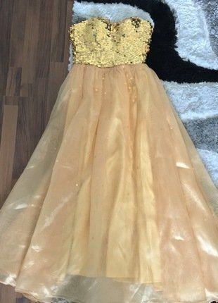 Goldenes Kleid mit Pailletten in XS | Goldenes kleid, Kleid mit ...