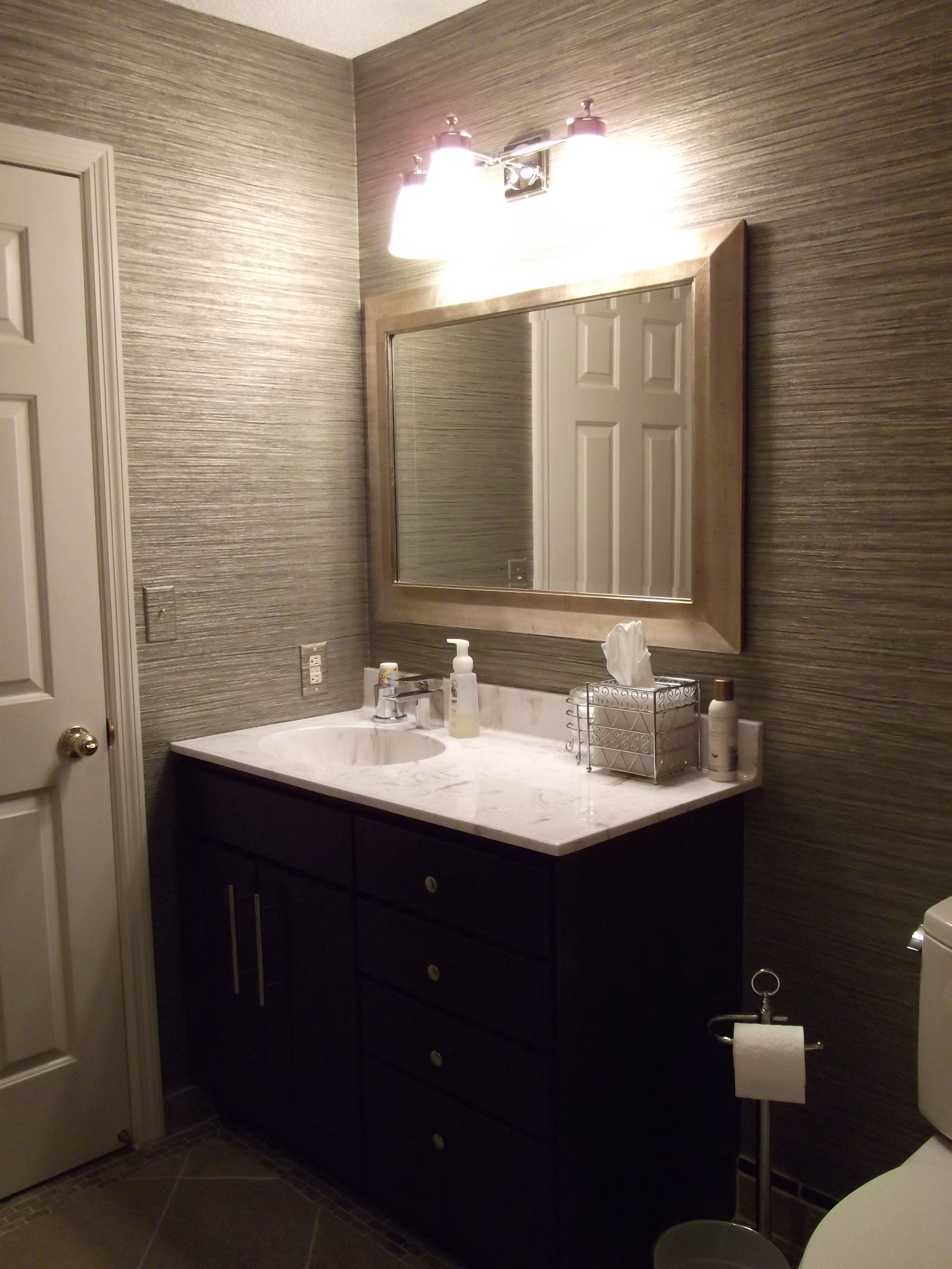 Vinyl Grasscloth Wallpaper In Guest Bathroom