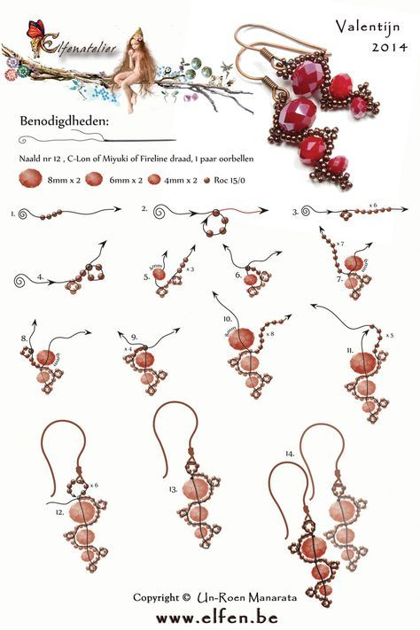 Earrings using three sizes of faceted beads - by Valentijin 2014 Elfenatelier
