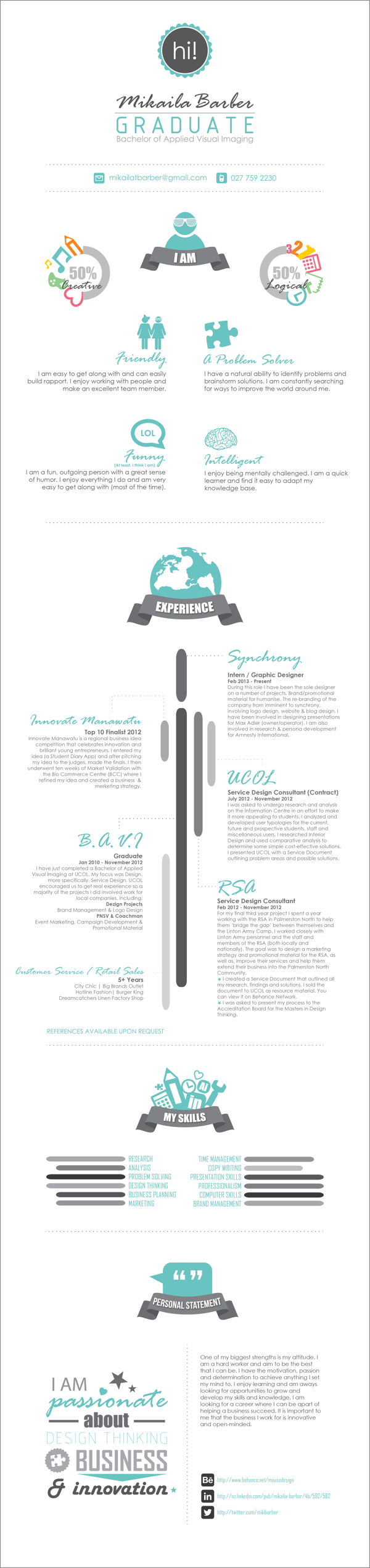 cv and creative resume by mikaila barber  via behance