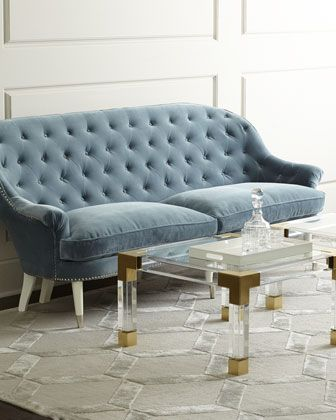 White Leather Sofa Foster Sofa by Jonathan Adler at Horchow