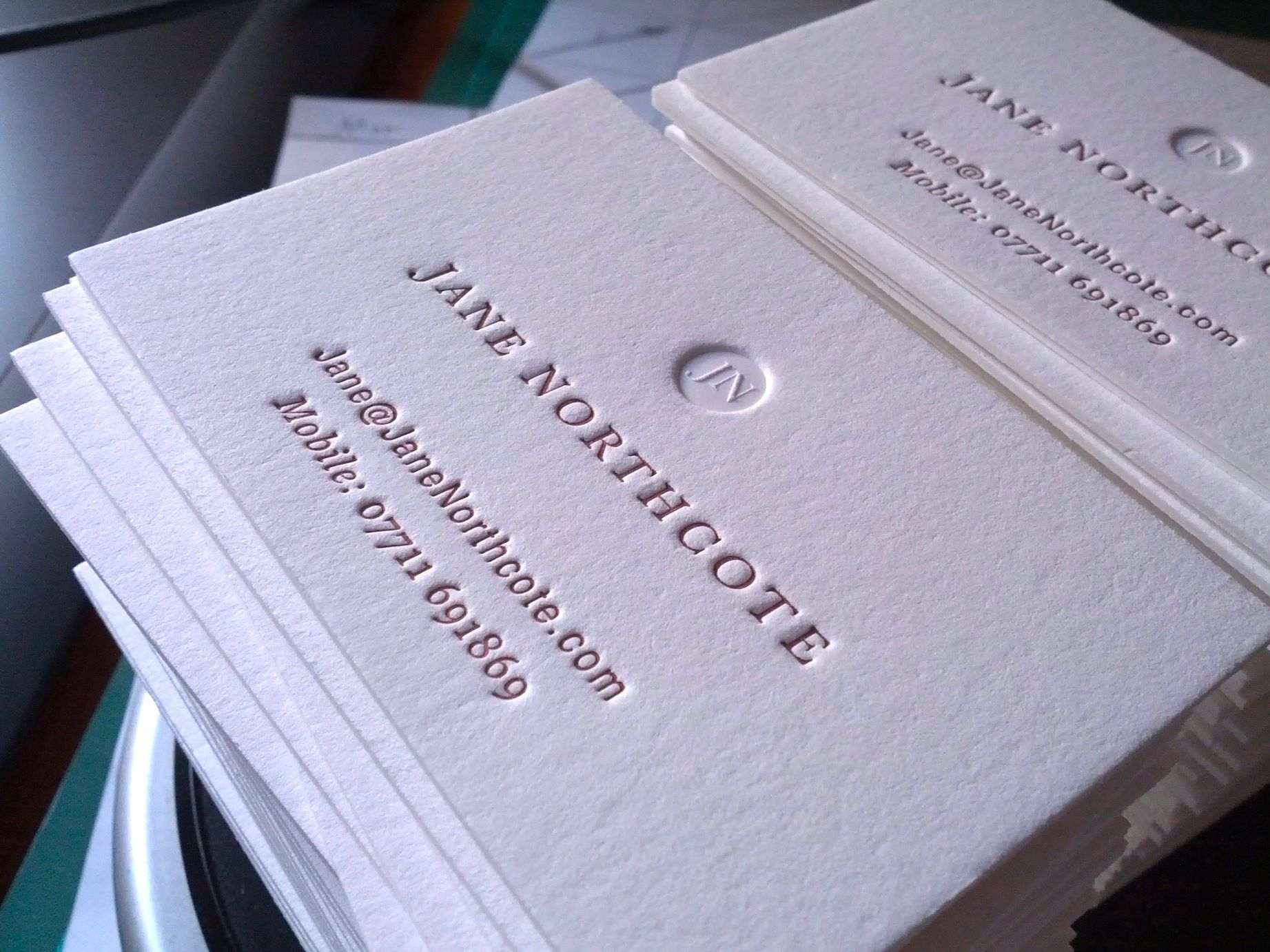 luxury cotton letterpress business cards by mapletea