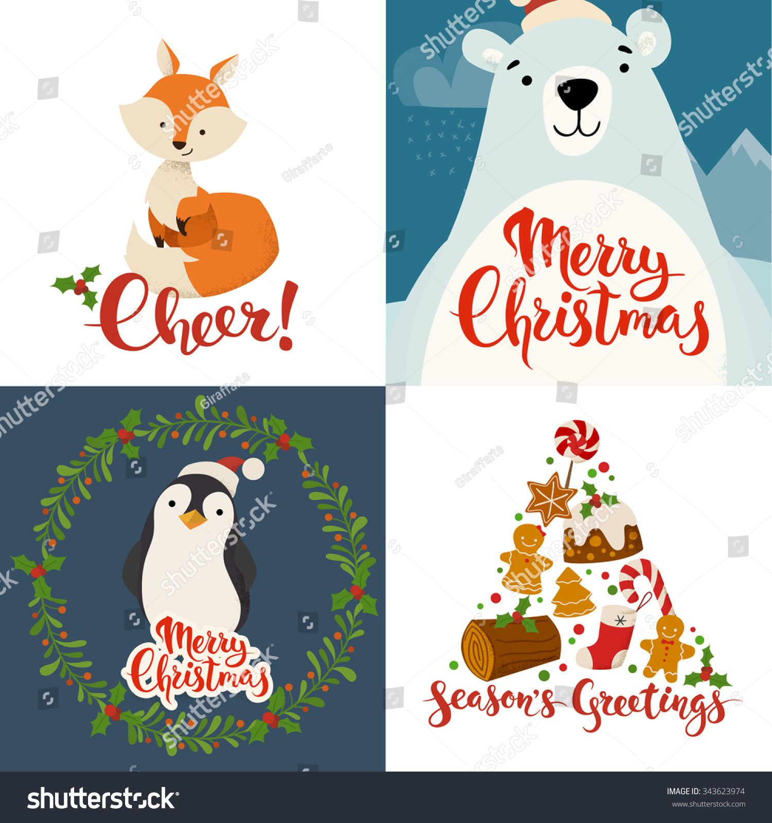Merry Christmas Vector Cards With Funny Christmas Characters