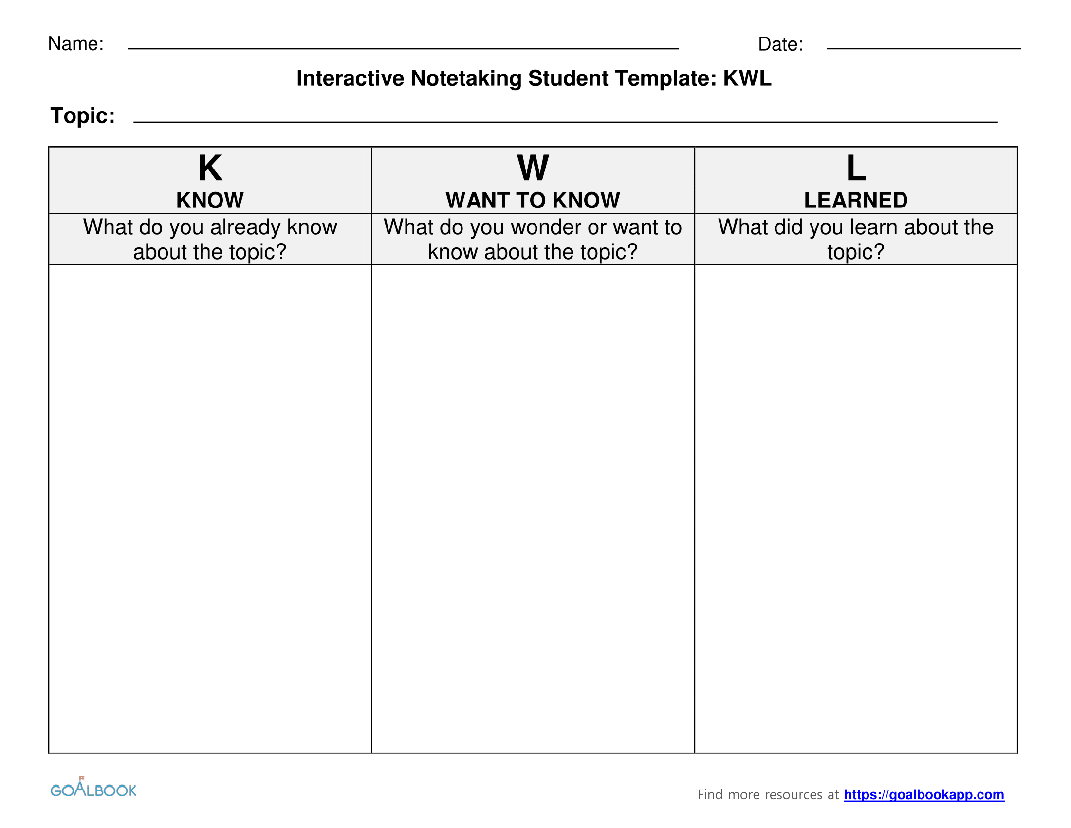 Kwl Charts For Interactive Notetaking