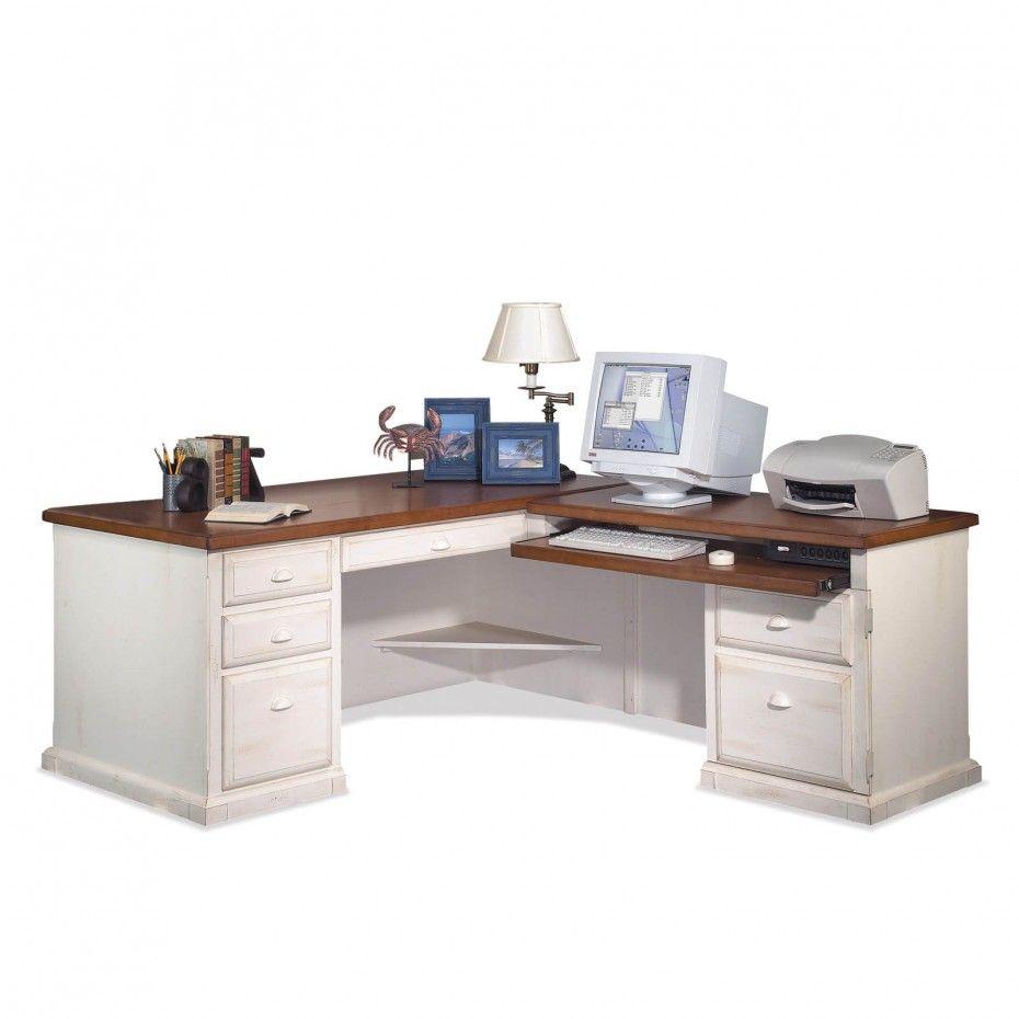 Distressed White Polished Teak Wood Desk With Brwn Wooden Ogee Edge Profile Top Having Sever Home Office White Desk Home Office Computer Desk Home Office Desks