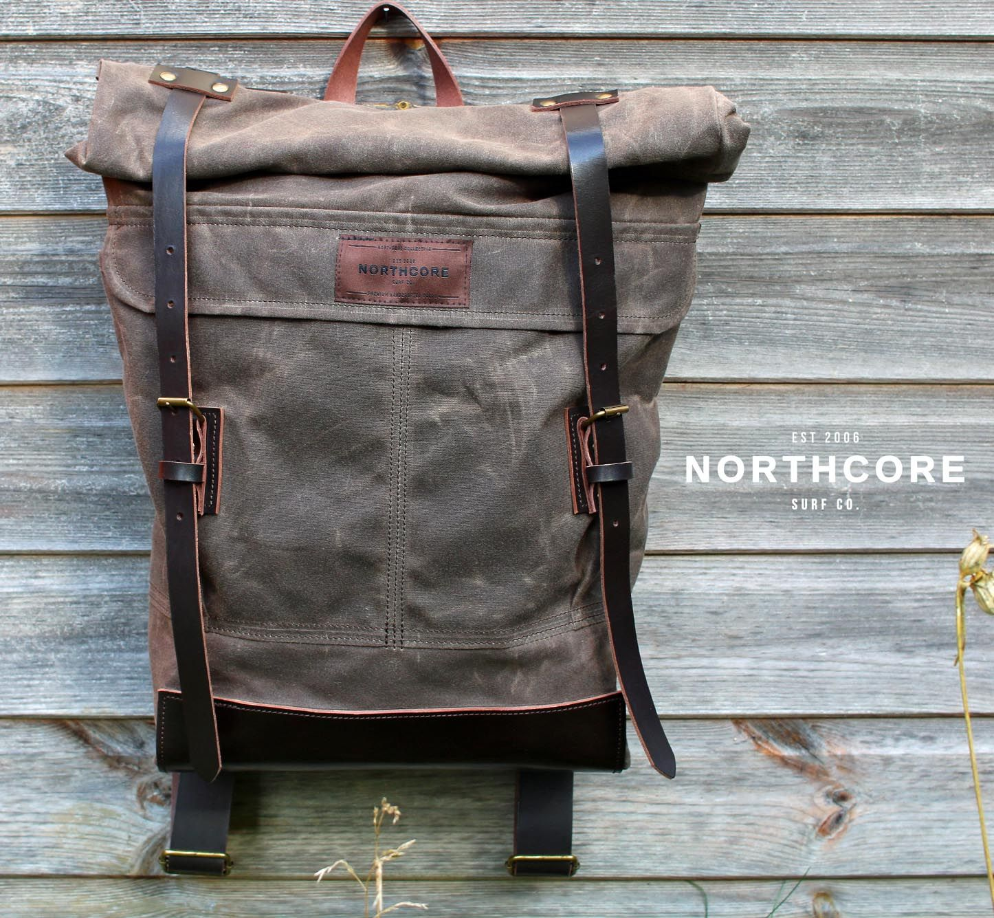 """Our handmade """"Adventurer"""" American waxed cotton canvas and leather #backpack. #Vintage inspired #bag design, crafted for premium quality in our Northcore Collective range , made to last a lifetime."""