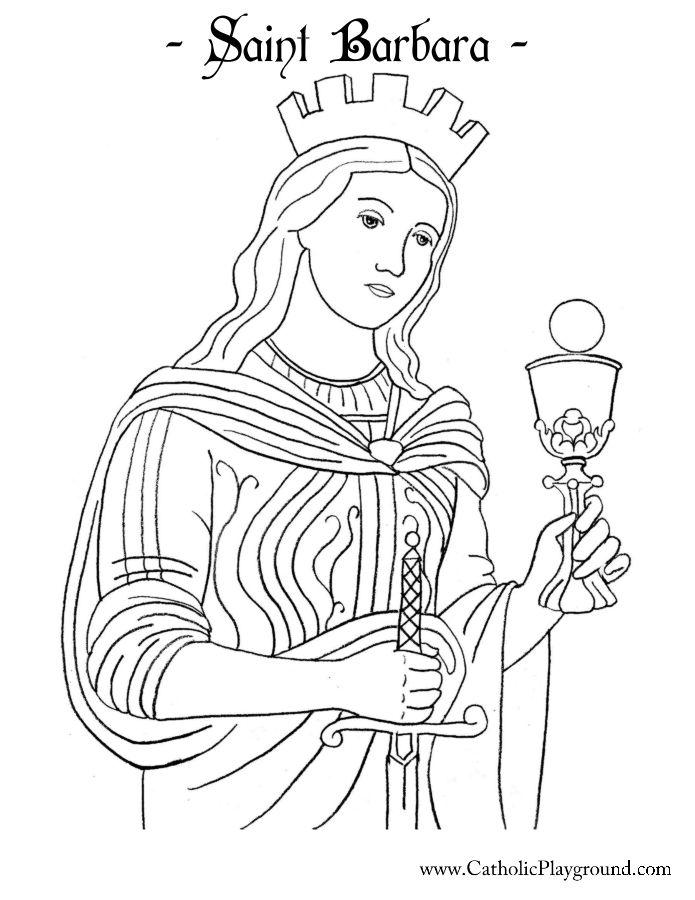 saint barbara coloring page catholic