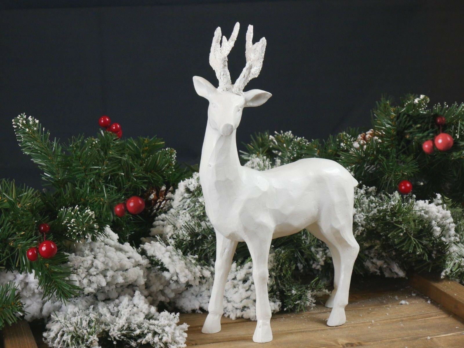 Large Standing Reindeer Stag Ornament White Christmas Decoration Shabby Chic Ebay Reindeer Statue White Christmas Decor Christmas Scenes