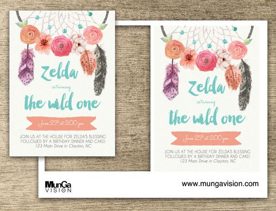 Printable Wild One Birthday Invite - MS Word Template Birthdays - birthday invitation template word