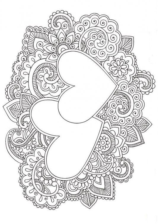 Heart Zentangle Coloring Page Adult Coloring Pages 2 Doodle