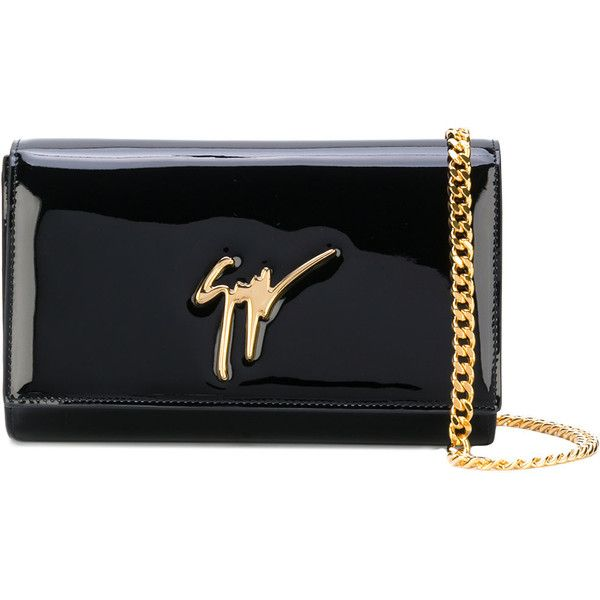 74812f596af Giuseppe Zanotti Design The Signature clutch ($543) ❤ liked on Polyvore  featuring bags, handbags, clutches, black, patent handbags, patent leather  handbags ...