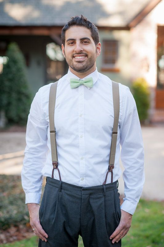 abcfdfb0594 Mint bowtie and suspenders for groomsmen (only grey