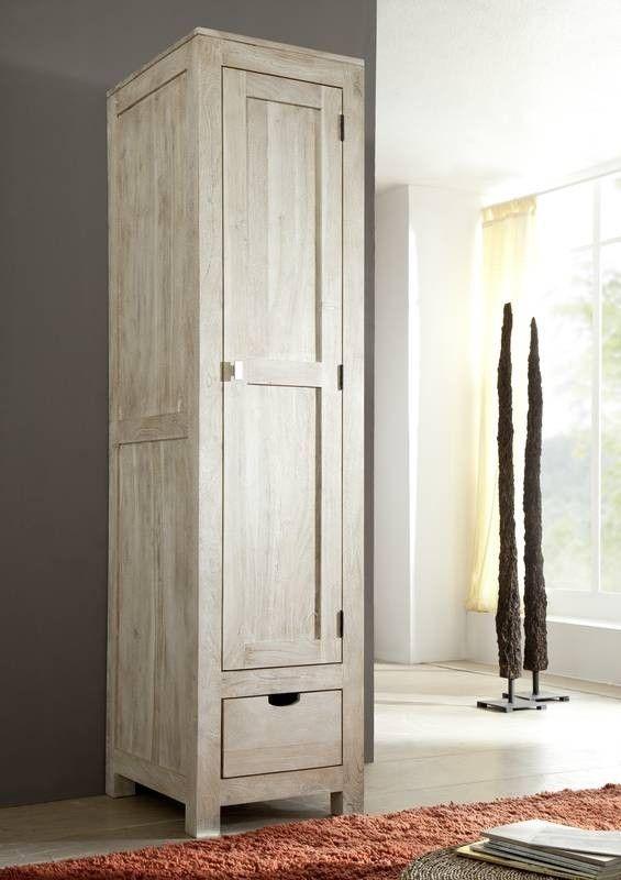 Schrank Akazie 48x60x200 white stone getüncht NATURE WHITE #98 Jetzt - schrank für wohnzimmer