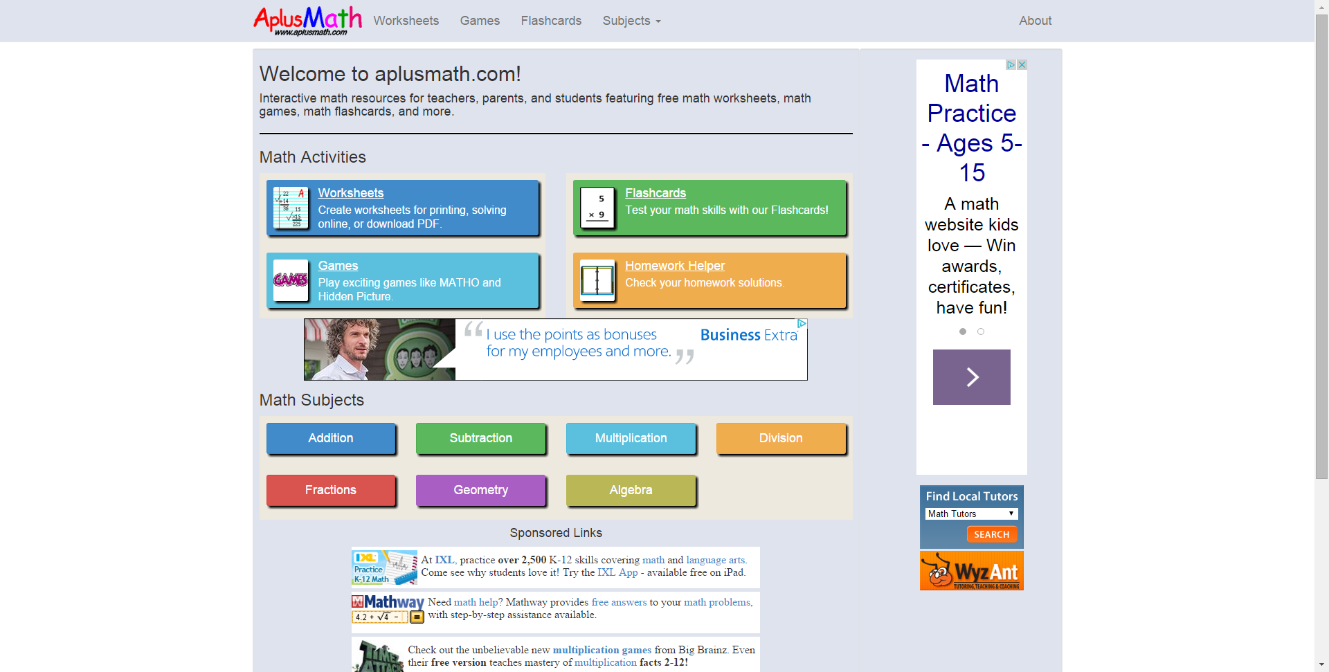 Aplusmath.com - Free Math Worksheets, Math Games, Math Flashcards ...