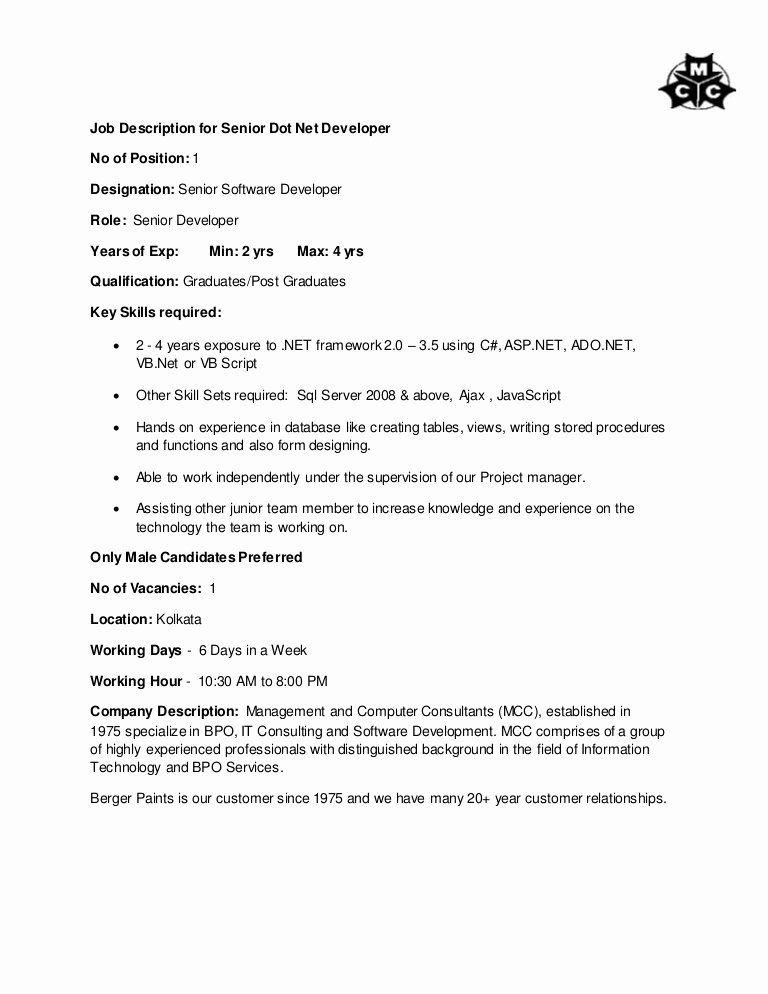 Warehouse Supervisor Resume Sample Best Of Dot Net Resume Experience Di 2020