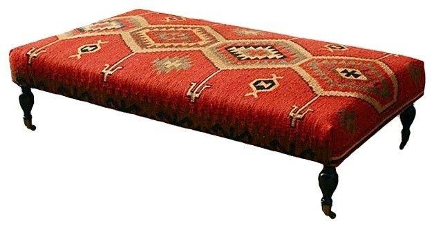 Pair Kilim Upholstered Bench - Set of 2 Turkish Kilim ... |Kilim Ottoman Bench