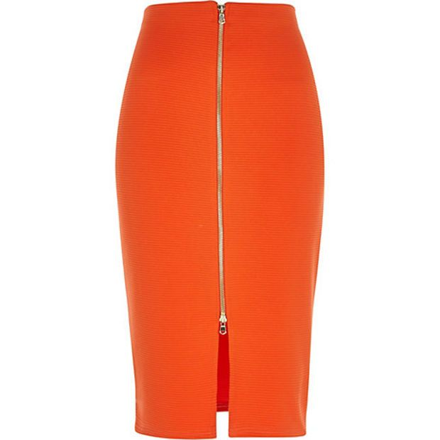 7c85b4291d River Island Womens Orange zip front pencil skirt | Got To Be ...