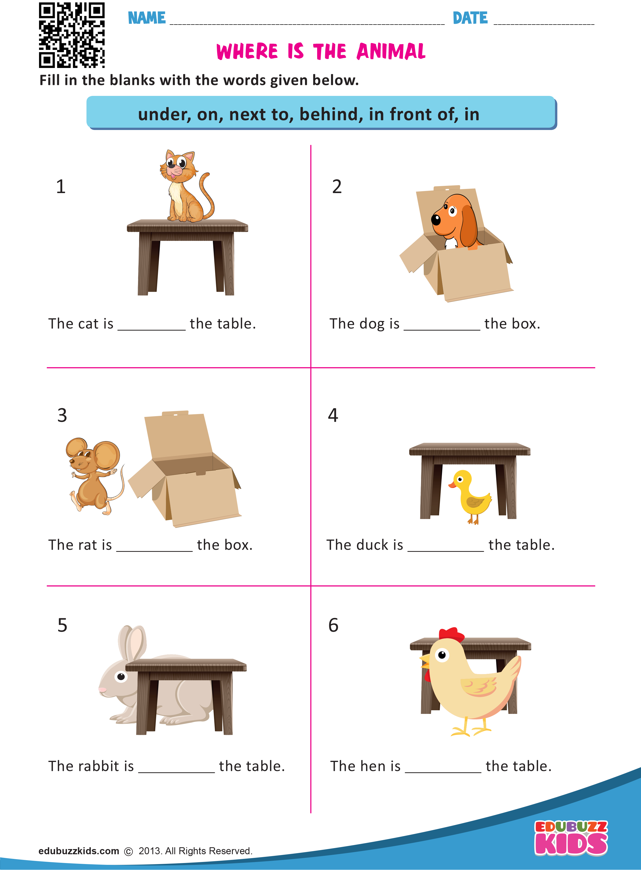 Where is the Animal   Preposition worksheets [ 3366 x 2480 Pixel ]