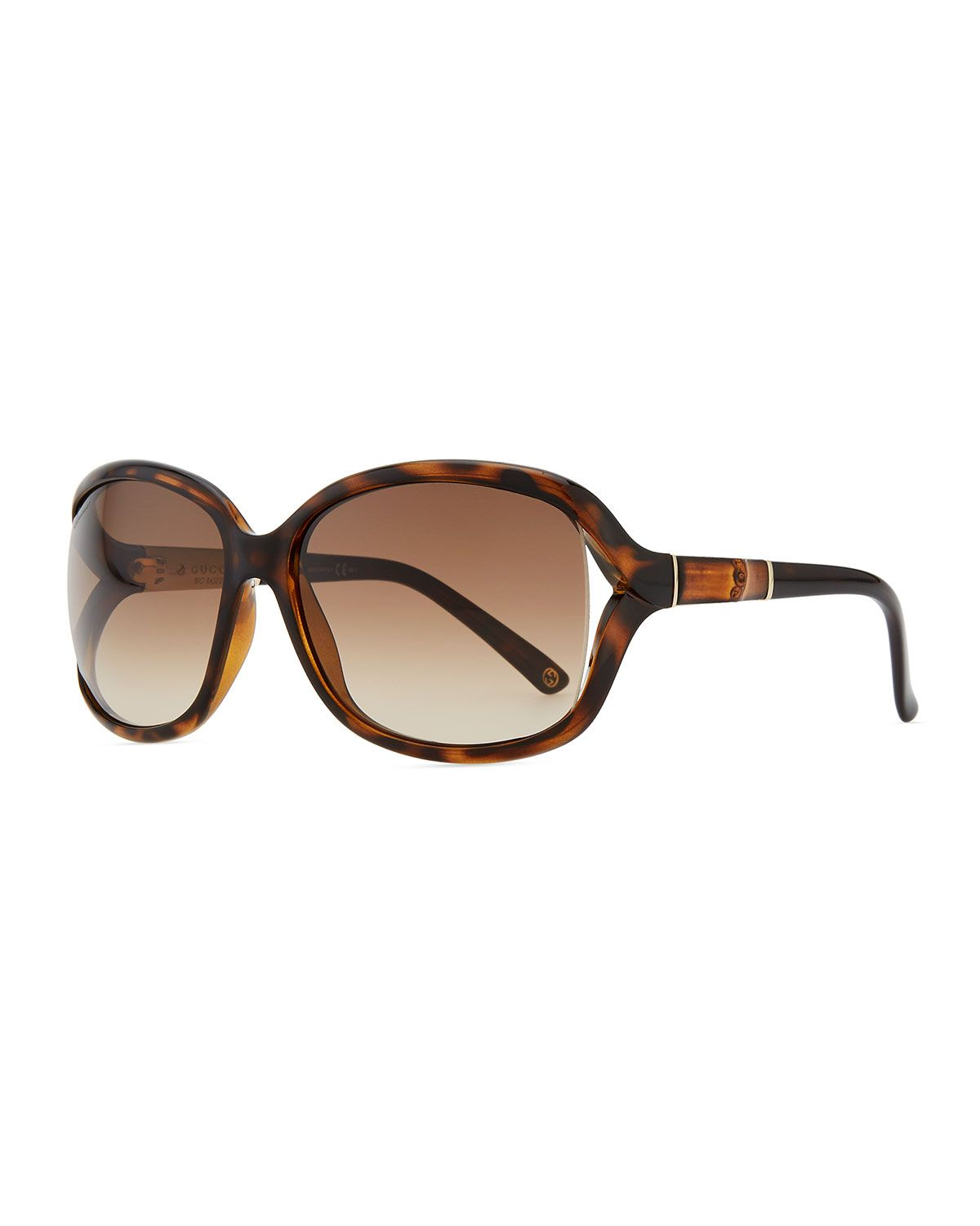 83b88f1f629 Gucci Large Sunglasses with Bamboo Arm