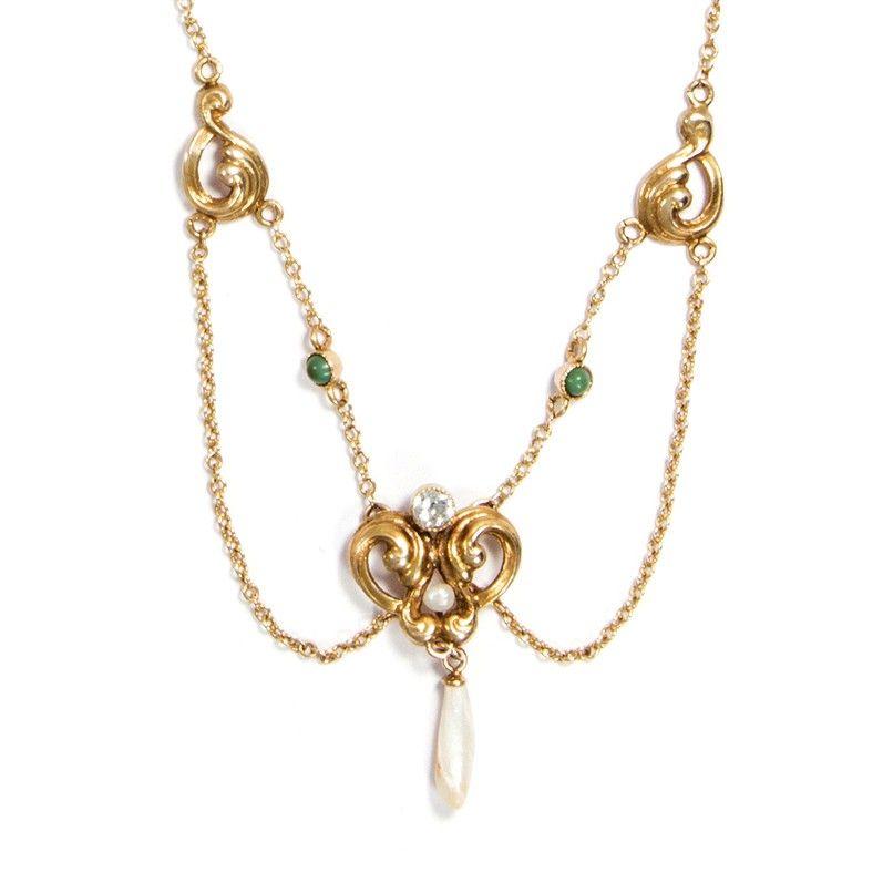 Ein eleganter Hauch - Zartes Jugendstil Collier in Gold, Diamant, Perle & Türkis, USA um 1890 von Hofer Antikschmuck aus Berlin // #hoferantikschmuck #antik #schmuck #antique #jewellery #jewelry