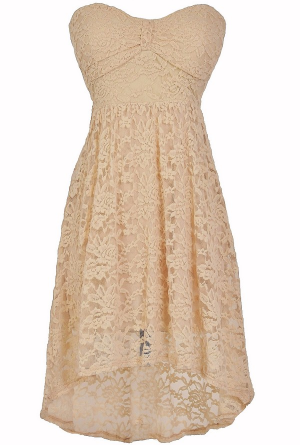 Angelica Strapless Lace High Low Dress in Cream  www.lilyboutique.com