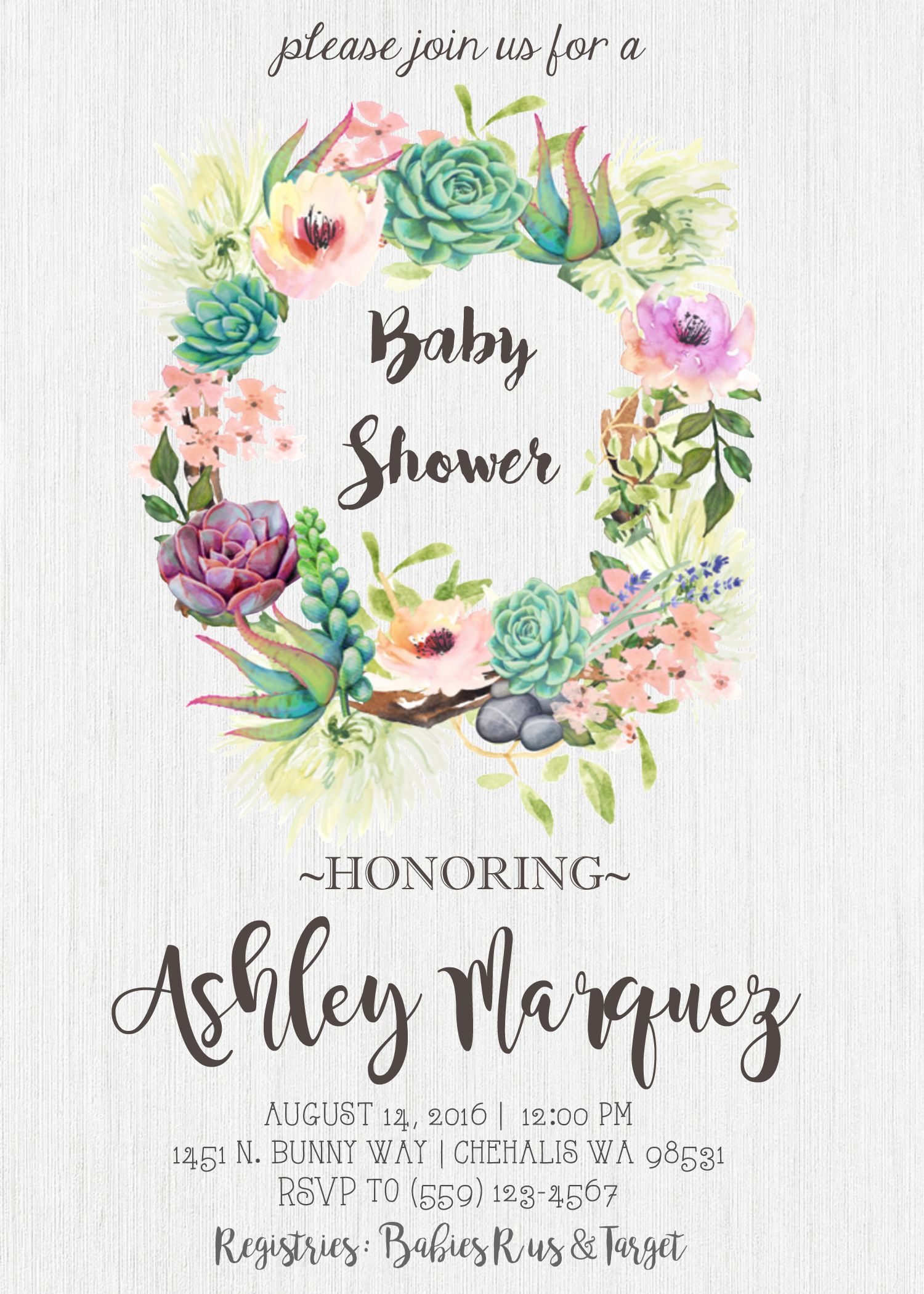 Baby Shower Invitation Watercolor Flowers Succulents Pink Peach
