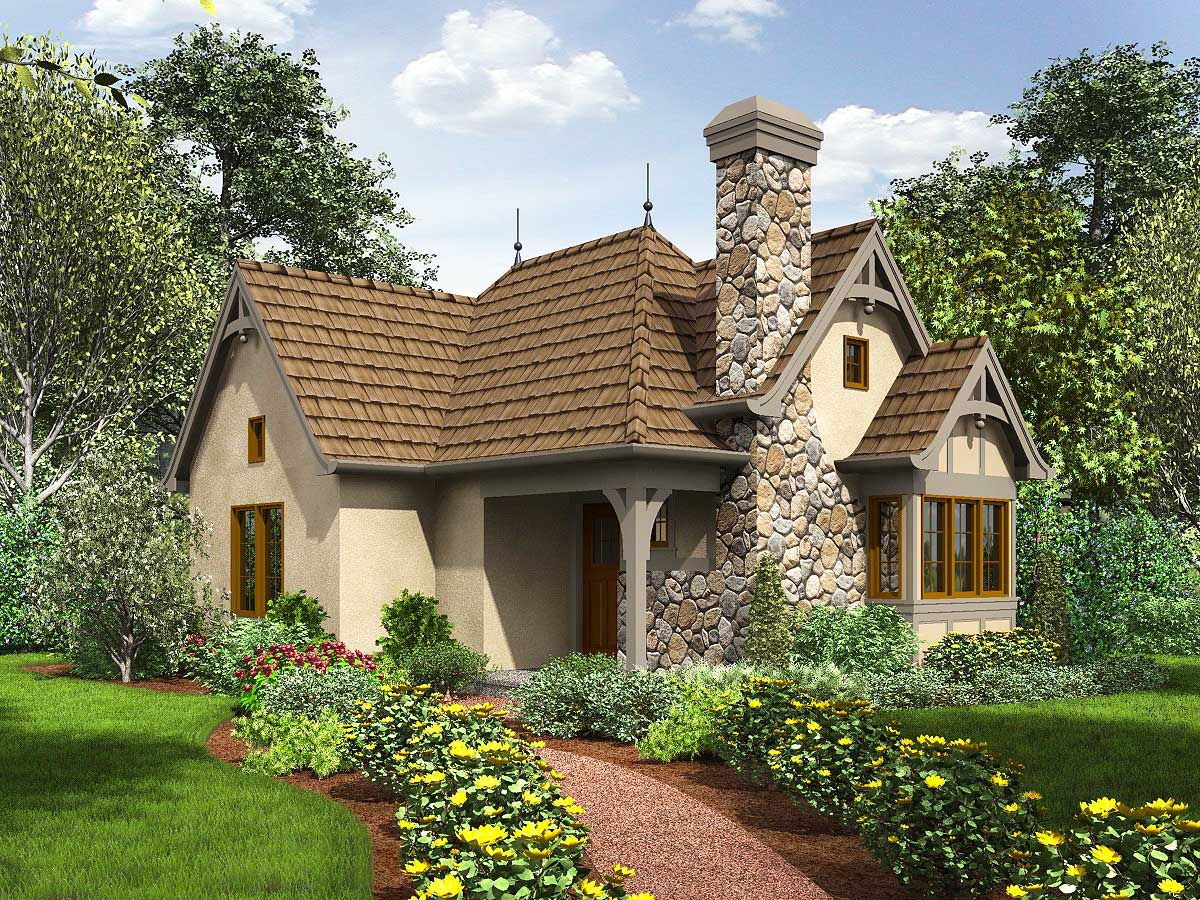 Plan 69590am One Bed Tiny House Plan Cottage House Plans Cottage Homes Cottage Plan