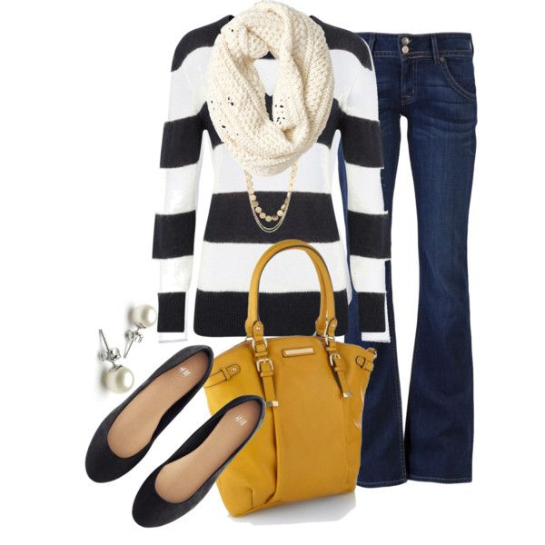 Outfit (I'd probably wear a scarf with white, navy and yellow combo or another complimentary color)