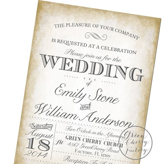 Printable Wedding Invitation  Vintage by GreenCherryFactory, $18.00