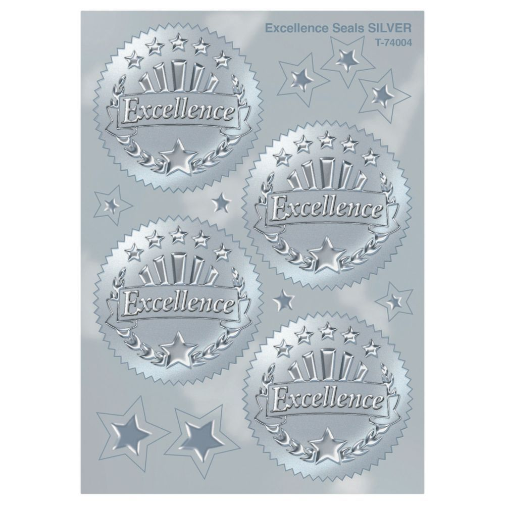 Enhance any certificate or award with an embossed foil seal in silver. Ideal for creating ribbon badges and other rewards. 32 stickers per pack, 2