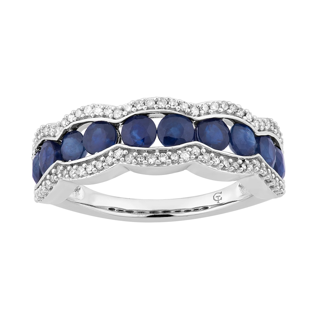 10k White Gold Sapphire 1 4 Carat T W Diamond Ring Women S Size 6 Blue Products In 2019 White Gold Rings Gold Sapphire Ring Stylish Jewelry