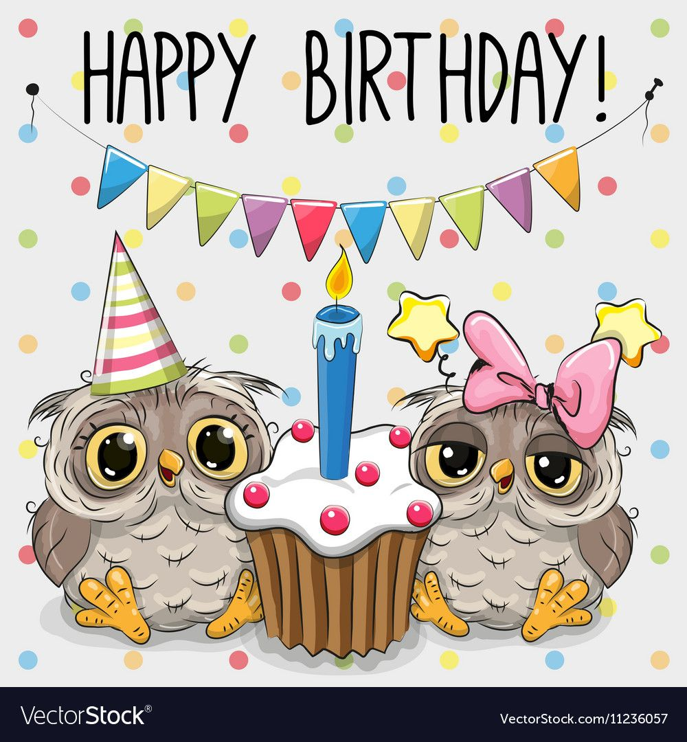 Greeting Card Two Cute Cartoon Owl Vector Image On Happy