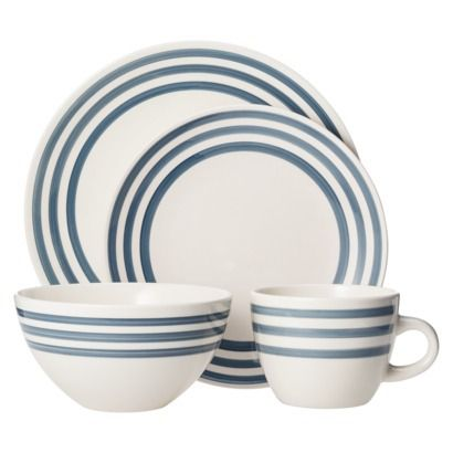 Threshold Bistro Ceramic 16 Piece Dinnerware Set - Overcast Blue Stripe  sc 1 st  Pinterest & Threshold Bistro Ceramic 16 Piece Dinnerware Set - Overcast Blue ...