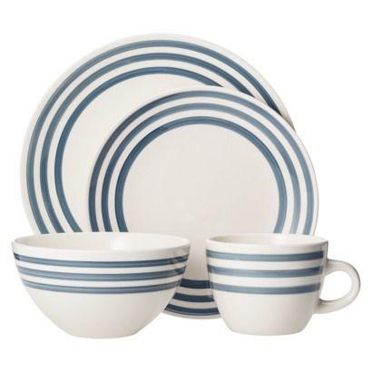 Threshold™ Bistro Ceramic 16 Piece Dinnerware Set - Overcast Blue Stripe  sc 1 st  Pinterest & Threshold Bistro Ceramic 16 Piece Dinnerware Set - Overcast Blue ...