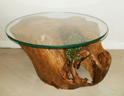 Mesa con tronco de rbol natural de simone lescher for Mesa tronco
