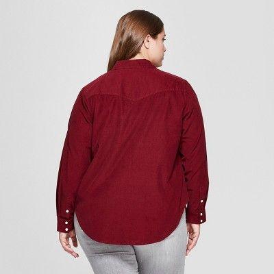 408e7192 Women's Plus Size Long Sleeve Corduroy Western Shirt - Universal Thread? Burgundy  3X #Sleeve, #Corduroy, #Long