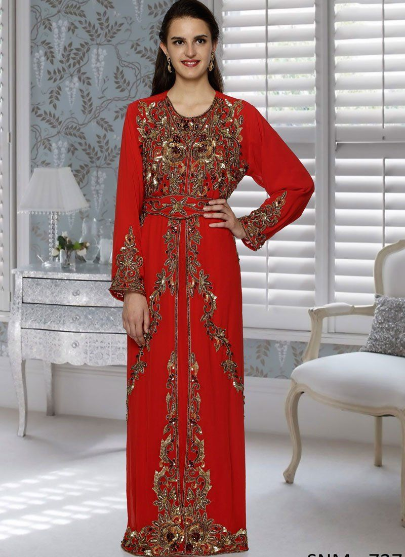 1384f640bd Aniiq Creations Red with Copper Embroidered Fashionable Moroccan Kaftan Red  – Arabic attire #beautiful #islamicclothing #modestymovement #hijabdress ...