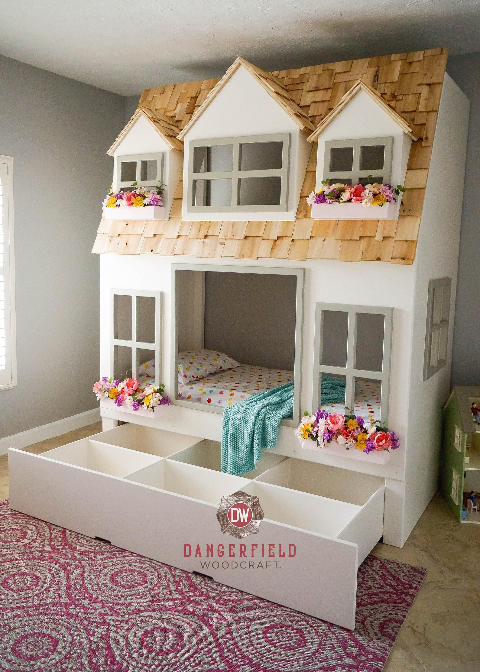 Mia S Country Cottage Bed Loft Bunk Bed Dollhouse Or Playhouse Optional Trundle Slide W Storage Staircase W Storage Or Ladder Bunk Bed With Trundle Kid Beds Loft Bunk Beds